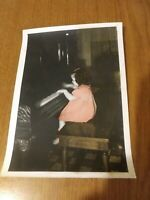 Girl in Pink Dress Playing Grand Piano Vintage Photo VTG 5x7