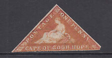 Cape of Good Hope Sc 3a used 1857 1p Hope Seated triangular, Die A