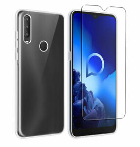 SDTEK Case for Alcatel 1S (2020) + Glass Screen Protector Clear Gel Cover