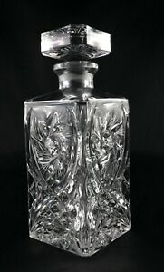 Bohemia vintage Lead Crystal Square Whisky Decanter - pinwheel and arch