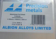 ALBION ALLOYS  SM9M ALUMINIUM FOIL SHEETS (2)  0.15mm x100mm x250mm