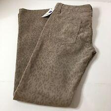 NEW Gap1969 Women's Real Straight Leg Cinder Gray Leopard Corduroy Pants Sz 24P