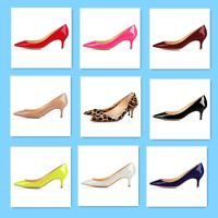 Women's Low Mid Kitten Heels Patent Leather Pointed Toe Pumps Shoes Large Size