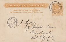 RHODESIA:1895 THREE HALF PENCE ARMS POSTAL CARD  H &G 6 used -MIDLAND DOWN