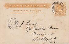 Rodesia:1895 tres medias peniques armas Tarjeta Postal De H & G 6 Usada-Midland abajo