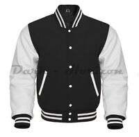 Varsity Letterman Bomber baseball Vintage Retro Black Wool &White Leather sleeve