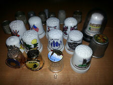Lot of 22 Sewing Mix Thimbles Metal Porcelain Silver Gold