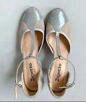 REPETTO Baya T-Strap Pump Gray Beige Pearlescent Heel Size 6.5 US (37.5 EU)
