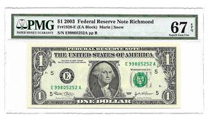 2003 $1 RICHMOND FRN, PMG SUPERB GEM UNCIRCULATED 67 EPQ BANKNOTE