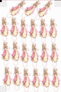 21 Original Pink Peter Rabbit  STAND UP Cupcake Topper Edible Decorations