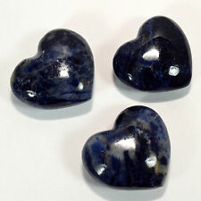 45mm Rich Blue Sodalite Heart Natural Polished Palm Crystal Stone - Africa (1PC)