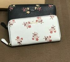 Coach Zip Around Wallet With Floral Bow Print In Chalk/brass New