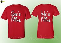 Matching Shirts - He is Mine She is Mine Couple Tees - Red