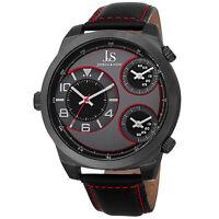 New Men's Joshua & Sons JS88RD Quartz Triple Time-Zone Black Leather Strap Watch