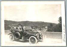 Italia, Giaveno, Auto d'epoca  Vintage silver print. Postcard paper. Cartol