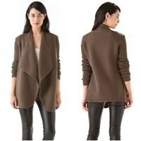 """Vince Women's Brown Sugar """"Boiled Wool"""" Open Front Draping Sweater Jacket Small"""
