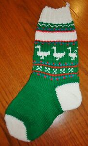 """Vintage Hand Knit Green Christmas Stocking Geese 19"""""""