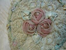 antique VINTAGE  BOUDOIR  LACE wand POWDER PUFF PINK SILK ROSES beautiful rare