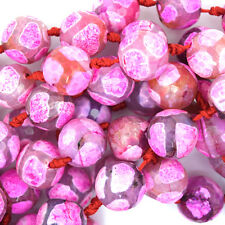 """14mm faceted agate round beads 7"""" strand  black magenta 9 pcs S3"""