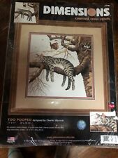 New ListingDimensions Counted Cross Stitch Kit Too Pooped Cat Tree 35087 11 x 11 New