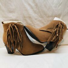 Journee Collection Fringe Bohemian Ankle Booties Brown Women's Size 9 New