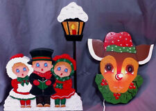 Vintage Wooden Rudolph Nose Lights Up Carolers Wall Shelf Mantle Christmas