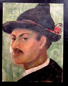 Antique Oil Painting Portrait Sarntaler Costume Mann Verso See Cornell Moser