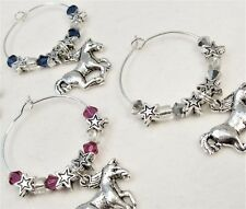 #5129- WINE BEVERAGE CHARMS 6 SET, WESTERN COWGIRL MADE WITH  SWAROVSKI CRYSTALS