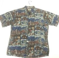 Kahala Mens Farming Village W/ Natives Hawaiian Islands Shirt Sz L Handcrafted