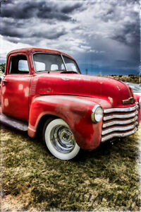 12x18 in. Garage Poster 1950 Chevy Pick Up Truck Poster, Vintage Art Man Cave