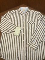 TOMMY BAHAMA JEAN ISLAND CRAFTED Shirt, Flip Cuff Contrast Size Large Striped