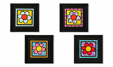 ROMERO BRITTO A SET OF 4 MEDIUM BLACK FRAMED PRINTS: FLOWER * NEW*