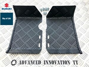Suzuki LT50 Aluminium Chequer Foot Plates Ankle Protectors. Foot Guards. Black