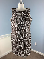Anne Klein 14 16 Brown geo Print Sheath Dress Stretch Career Cocktail Cotton EUC