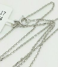 """14k Solid White Gold High Polish Cable Link Pendant Necklace Chain 18"""" 1.1mm"""