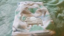 Ad Sutton And Sons Plush Baby Blanket W/ Elephant, Blue, Green, Gray & White New