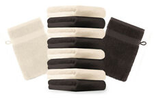 Betz Set di 10 guanti da bagno Premium misure 16 x 21 cm 100% cotone marrone scu