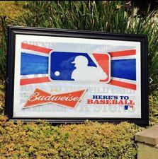 "Budweiser Mlb Baseball Beer Bar Pub Man Cave Mirror ""New"""