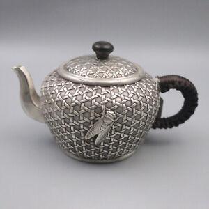 Pure S999 Sterling Silver Teapot Men Women Cicada Mesh Grid Pattern Teapot /200g