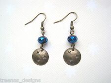 BRONZE STAR MOON PLANET DISC Blue Crystal Bead Drop Earrings XMAS Gift Celestial