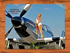 "TIN-UPS TIN SIGN ""War Birds Plane Calender Girl"" Vintage Retro Pin Up Fighter"