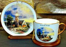 Thomas Kinkade Teacup Saucer Light Storm Teleflora Lighthouse Seaside Coffee Mug