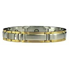 For Him - Stainless Steel Magnetic Therapy Bracelet Gold Silver Plated Man Mans