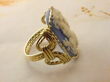 Grecian Goddess Dove Cameo Ring 14k Gold gf Blue