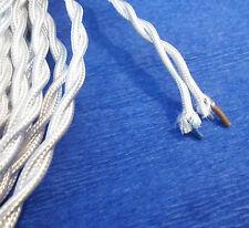 CABLE TEXTILE TORSADE 2X0.50mm² , FIL ELECTRIQUE GAINE DE TISSU BLANC