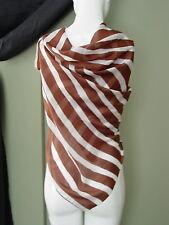 "Carmelo Pomodoro  Classic Brown & White Stripe Silk Scarf 38""x40"""
