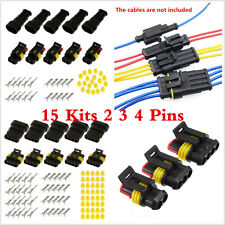 Motorcycle 15 Kits Sets 2 3 4 Pins Way Sealed Electrical Wire Connect Terminals