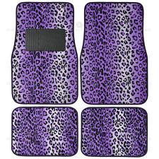 Leopard Purple Car Floor Mat 4 PC Set Design Mat Rubber Backing Auto Carpet