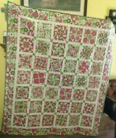 """Handmade Four Patch Whack Lap/Throw Quilt 61"""" x 70"""" Machine Quilted"""