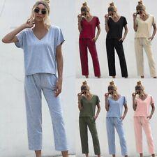 2PCS Women Summer Tracksuits Set Lounge Wear Ladies Suit Pants Loungewear Ceng